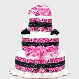 Pink Paisley Baby Girl Diaper Cake Shower Centerpiece