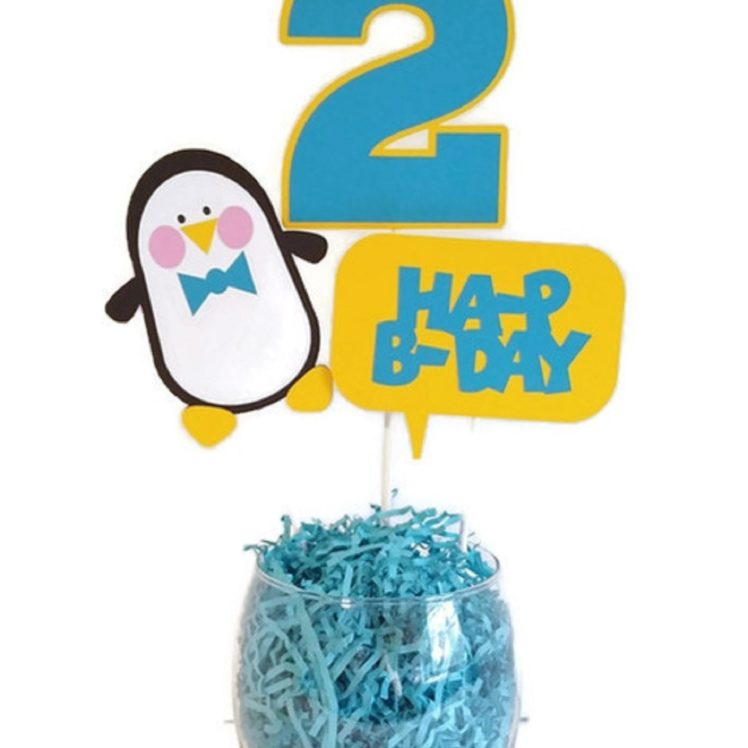 Boy Penguin Birthday Party Cake Toppers Centerpiece Sticks Personalized