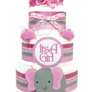 Pink Plaid Elephant Baby Girl Diaper Cake
