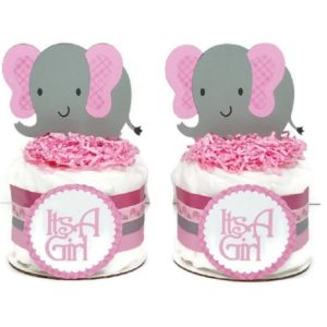 Pink Plaid Elephant Girl Mini Diaper Cake Set