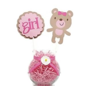Baby Girl Teddy Bear Cake Toppers Centerpiece Sticks PINK