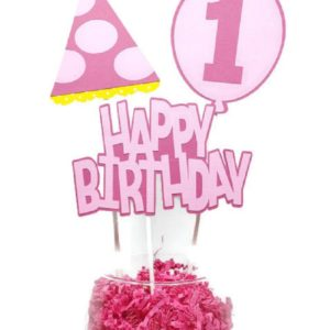 Girl First Birthday Centerpiece Sticks Cake Toppers Pink Party Hat