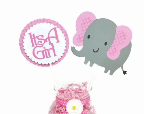 Baby Girl Pink Elephant Plaid Cake Toppers Centerpiece Sticks