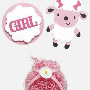 Baby Girl Pink Sheep Lamb Cake Toppers Centerpiece Sticks
