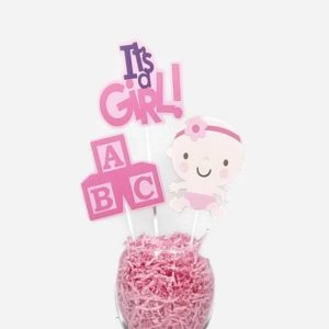 Baby Girl Centerpiece Sticks Cake Toppers with Baby Blocks Pink & Purple