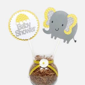 Gender Neutral Baby Yellow Elephant Polka Dot Cake Toppers Centerpiece Sticks