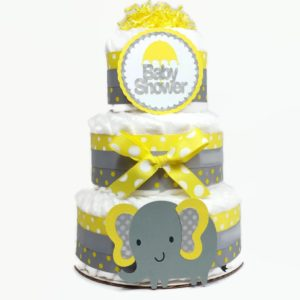 Gender Neutral Elephant Diaper Cake- Yellow & Gray Polka Dot