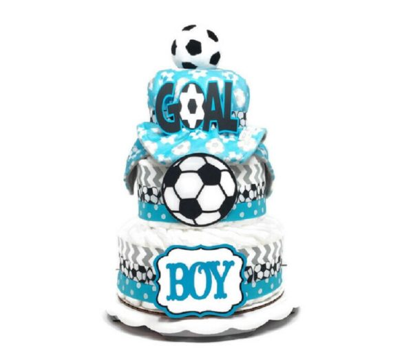 Baby Boy Soccer Diaper Cake With Blanket