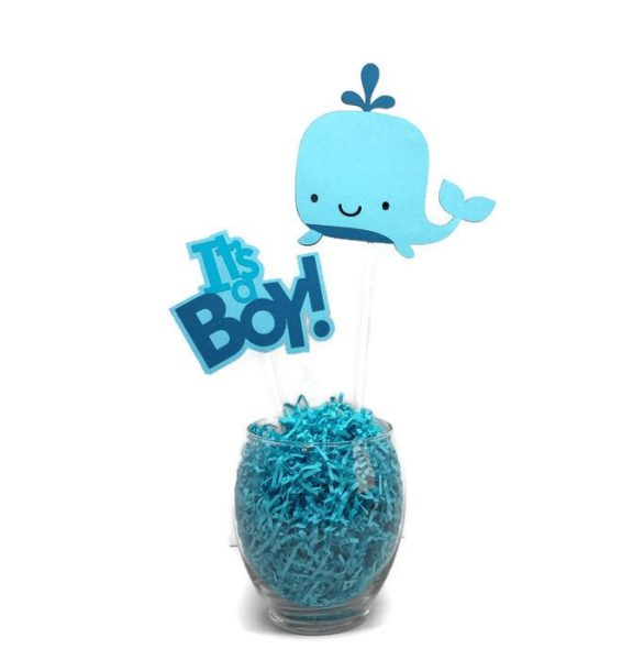 It's a Baby Boy Whale Centerpiece Sticks Cake Toppers