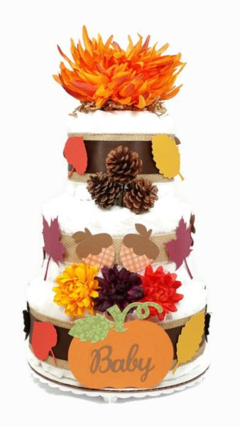 Autumn Fall Baby Shower Diaper Cake Gender Neutral Party Centerpiece Orange Flower