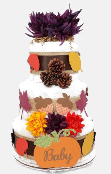 Fall Autumn Baby Diaper Cake Gender Neutral Shower Centerpiece Plum Flower
