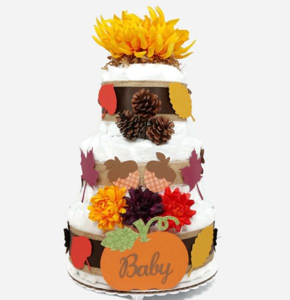 Fall Autumn Diaper Cake Gender Neutral Baby Shower Centerpiece Yellow Flower