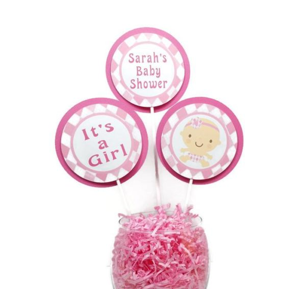 Pink Argyle Baby Shower Centerpiece Sticks Cake Toppers Personalized