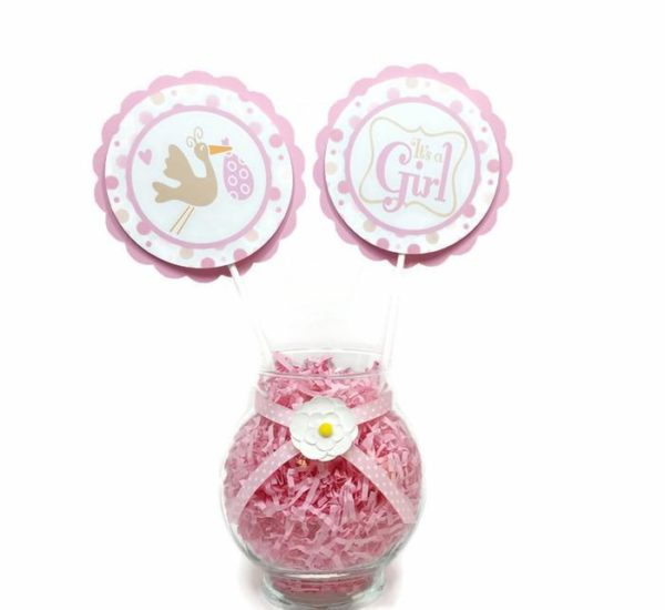 Stork Bundle Baby Girl Shower Centerpiece Sticks Cake Toppers