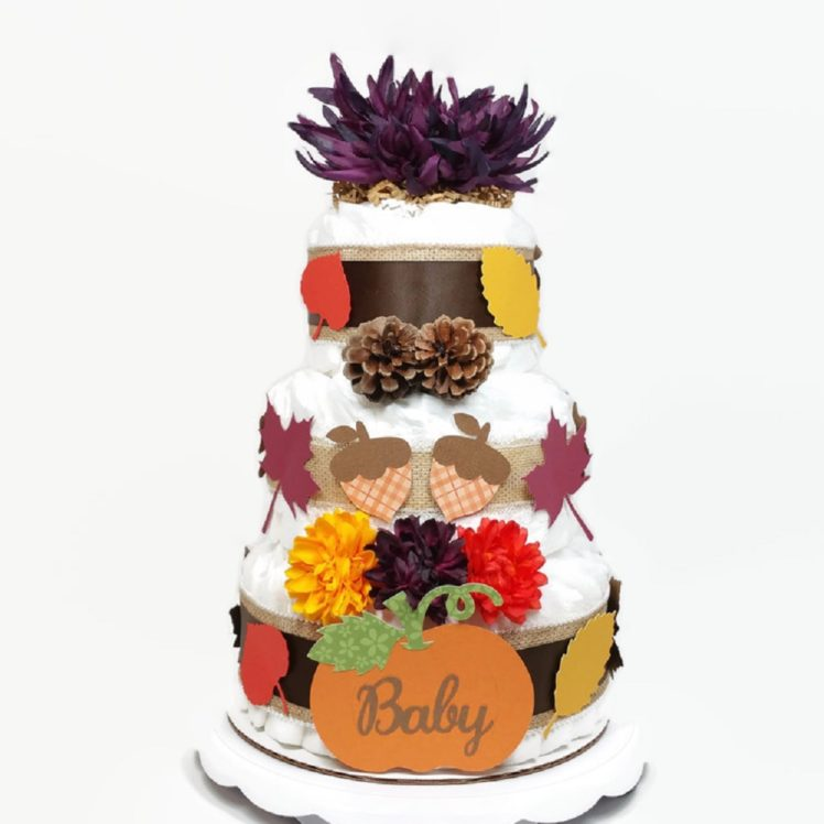 Fall Baby Diaper Cake Plum Flower