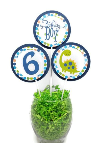 Dinosaur Birthday Cake Toppers Centerpiece Sticks Personalized
