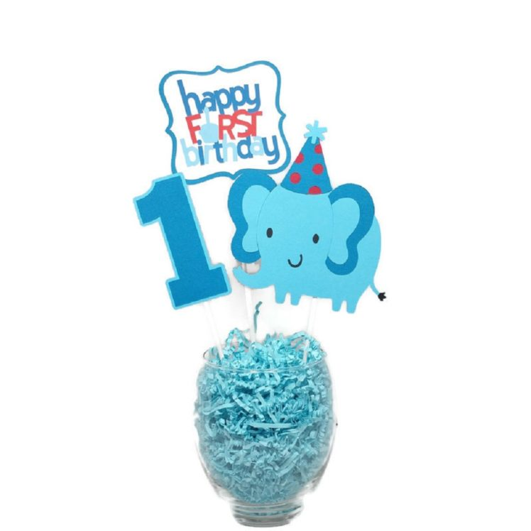 Baby Boy First Birthday Elephant Centerpiece Sticks Cake Toppers