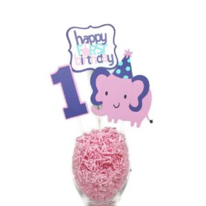 Girl First Birthday Elephant Centerpiece Sticks Cake Toppers