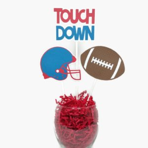Football party centerpiece sticks cake toppers