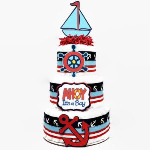 Nautical Diaper Cake Baby Boy