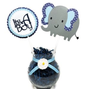 Navy Blue Polka Dot Elephant Centerpiece sticks