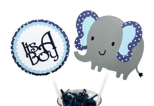 Navy Blue Polka Dot Elephant Centerpiece Sticks 2