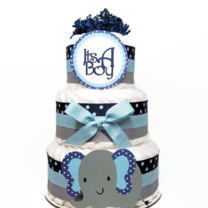 Navy Blue Polka Dot Elephant Diaper Cake 1