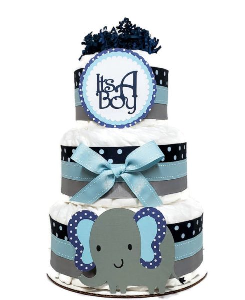 Navy Blue Polka Dot Elephant Diaper Cake 6