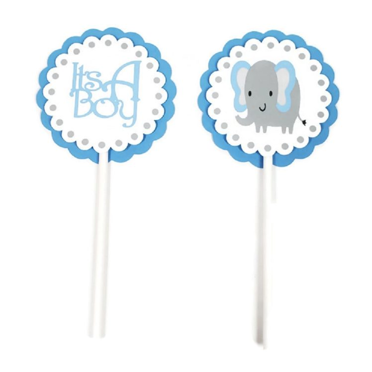 Blue Elephant Cupcake Toppers
