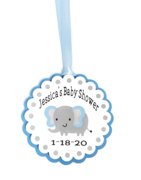 Blue Elephant Boy Baby Shower Favor Tags