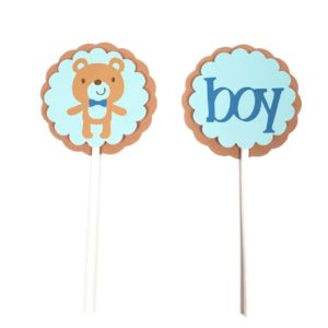 Blue Teddy Bear Boy Cupcake Toppers