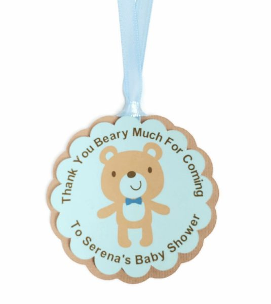 Teddy Bear Boy Baby Shower Party Favor Tags