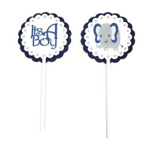 Navy Blue Elephant Cupcake Toppers