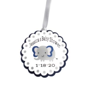 Navy Blue Elephant Boy Baby Shower Favor Tags