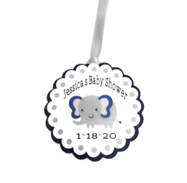 Elephant Navy Blue Boy Baby Shower Party Favor Tags
