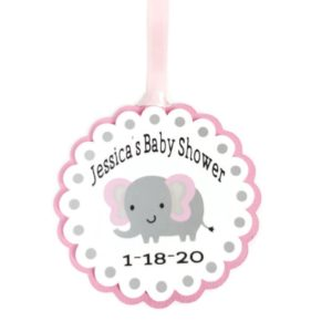 Pink Elephant Girl Baby Shower Favor Tags