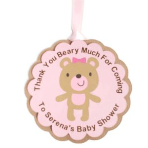 Pink Teddy Bear Girl Baby Shower Favor Tags