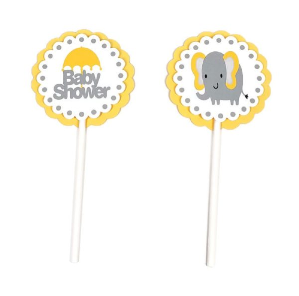 Yellow Elephant Cupcake Toppers