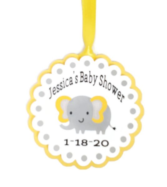Yellow Elephant Gender Neutral Baby Shower Favor Tags
