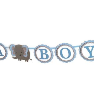 elephant baby shower banner blue and gray polka dots