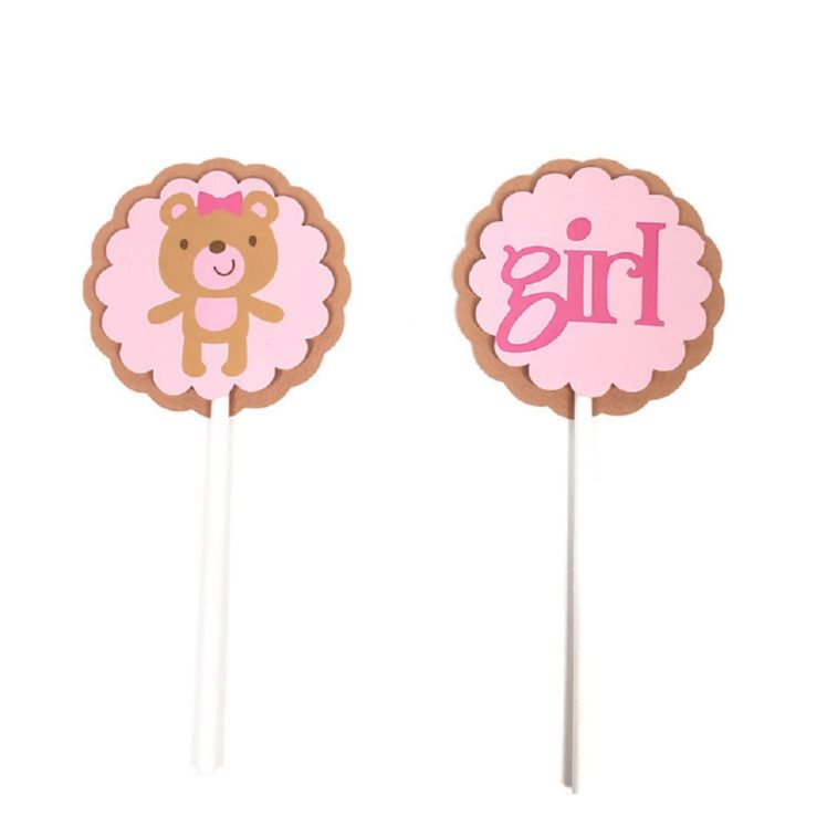Girl Teddy Bear Pink Cupcake Toppers