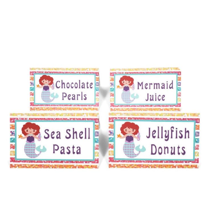 mermaid food tents place cards