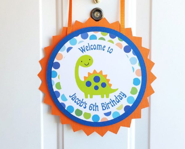 Dinosaur birthday door sign