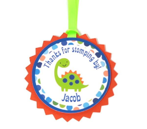 dinosaur favor tag
