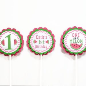 Watermelon Cupcake Toppers One In A Melon Girl Birthday Party Decorations