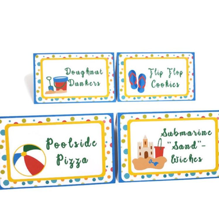 pool party food tent cards