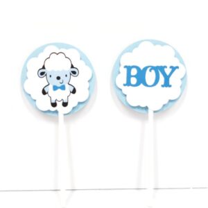 sheep boy baby shower cupcake toppers