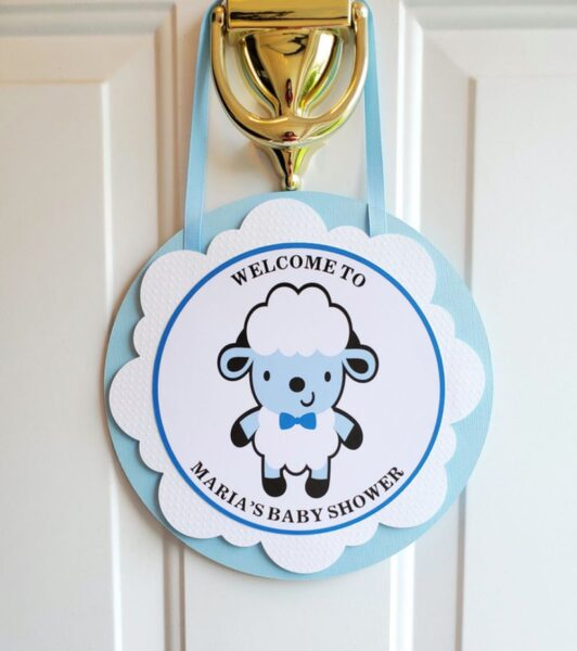 Boy sheep baby shower door sign