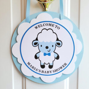 sheep door hanger welcome sign baby shower
