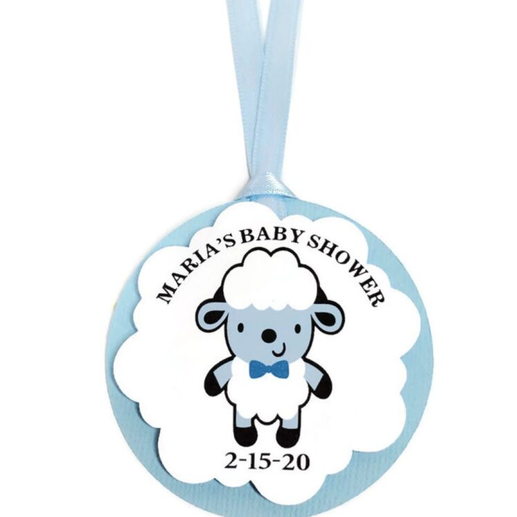 blue sheep favor tags boy baby shower
